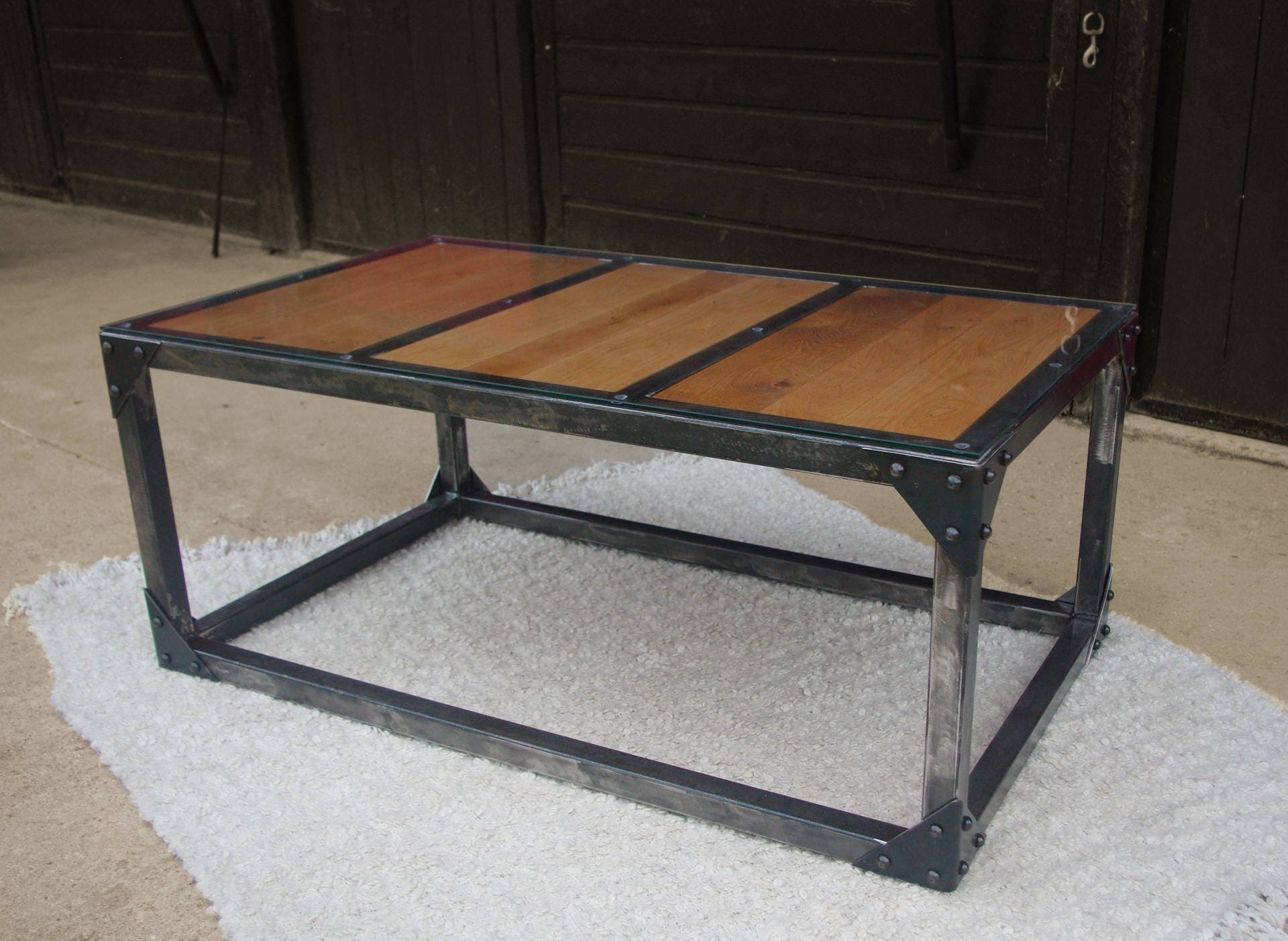 Table Low Iron Glass Riveted Wood Etsy