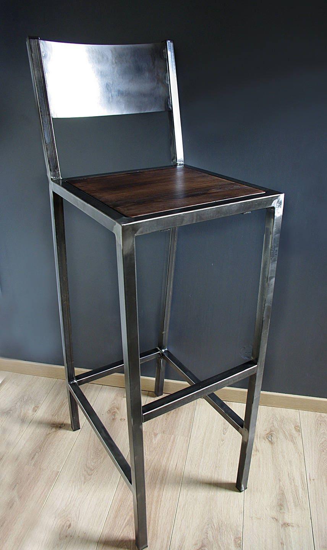 tabourets de bar design industriel fer et bois etsy. Black Bedroom Furniture Sets. Home Design Ideas