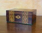 Antique Victorian Marquetry Box Ladies Vanity or Storage Box circa 1880