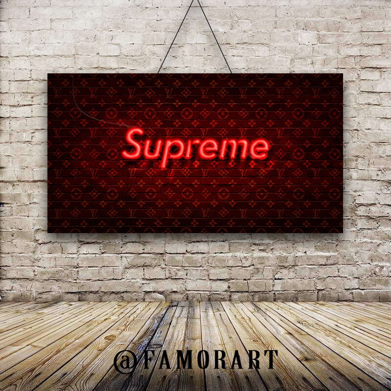 POSTER  Supreme X LV Neon Art Vlone Palace Adidas  46963094f81