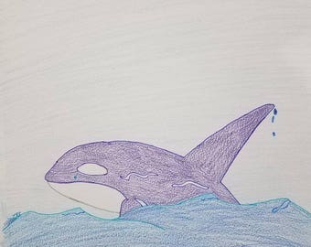 Whale love- drawing, markers, pencil, color, fun, light hearted, original, not framed