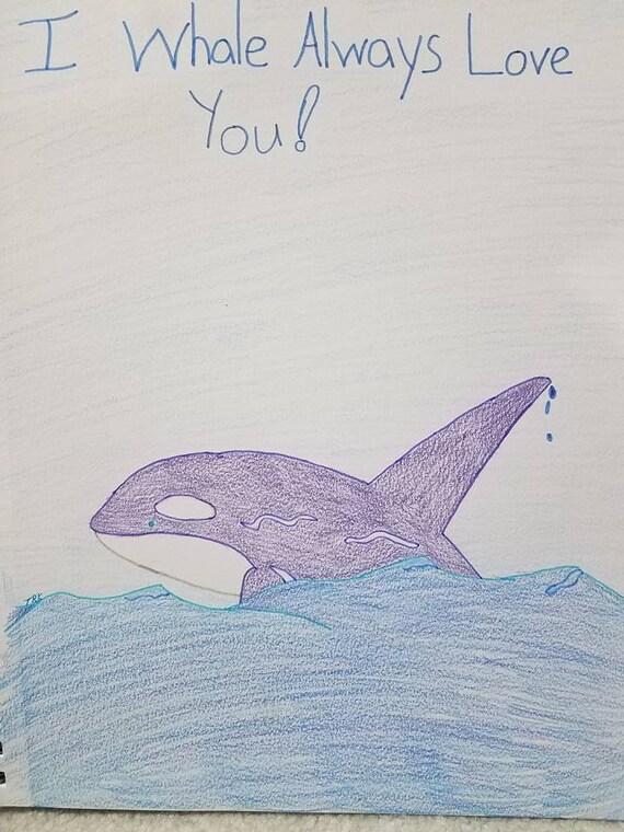 La ballena de amor-dibujo marcadores lápiz color | Etsy