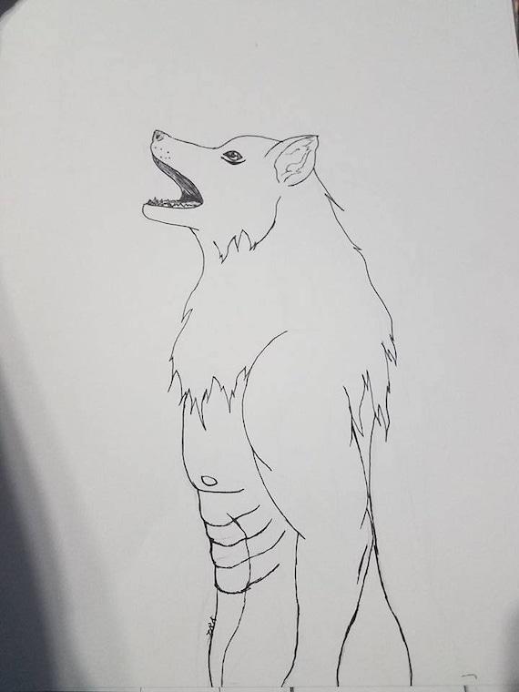 Dibujo De Hombre Lobo Lápiztinta Original No Enmarcados Etsy