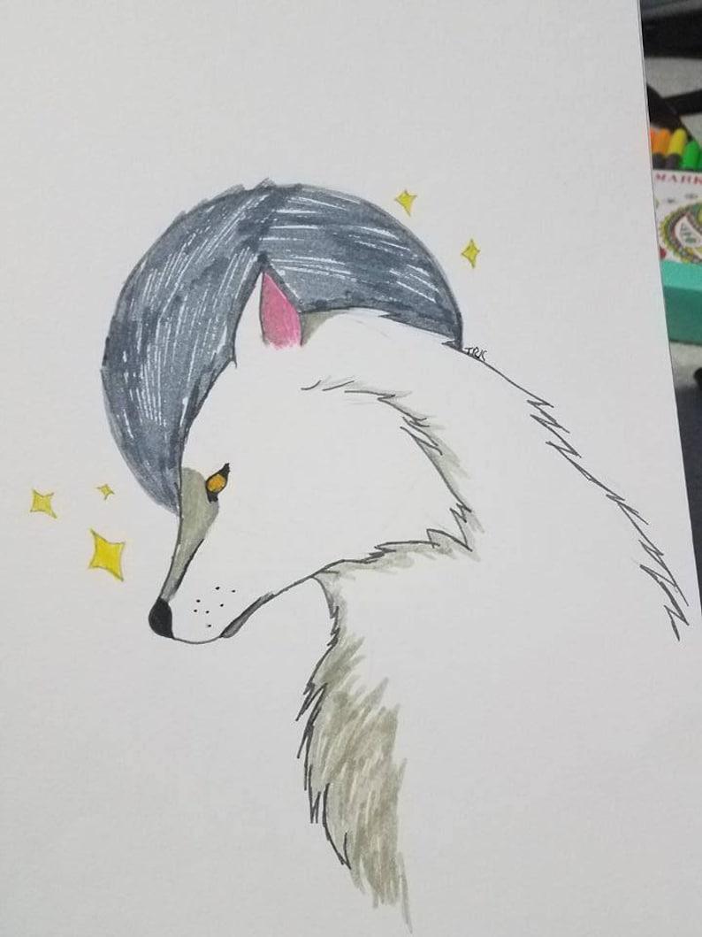 Luna Y Lobo Naturaleza Dibujo Marcadores Colores Simples 9 Etsy