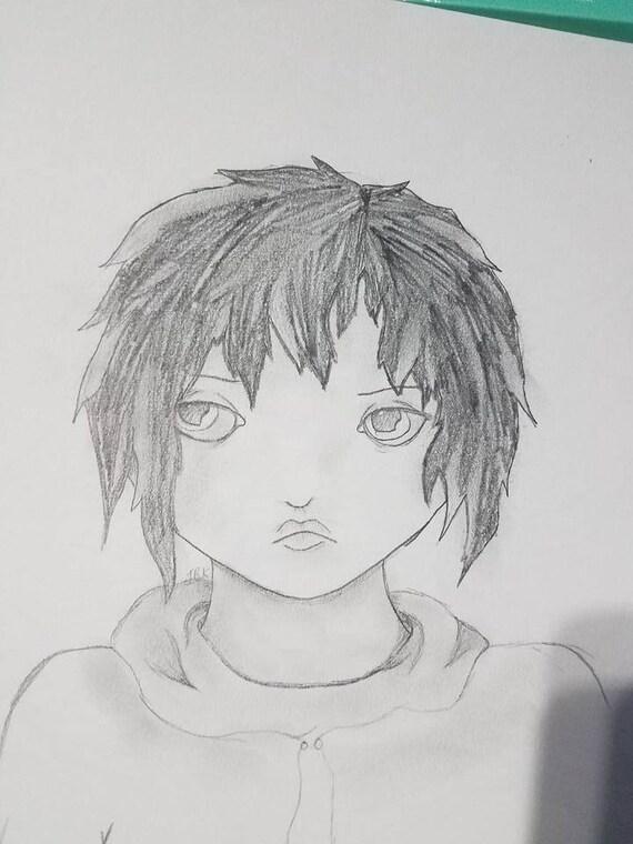 Fille Triste Portrait Crayon Dessin Noir Et Blanc Original 9 X 10 Non Encadrée