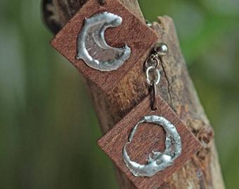 Reclaimed wood, decorative Tin earrings