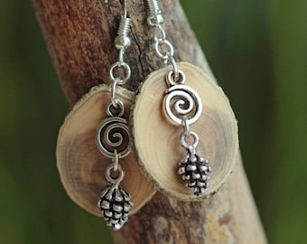 Slices of boxwood, spiral bead and silver pin earrings