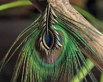 Earrings large Peacock feather, large bronze bead