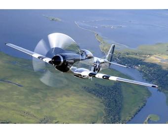 North American P-51 Mustang - Military Warbird Photo Art - Plane Poster Print
