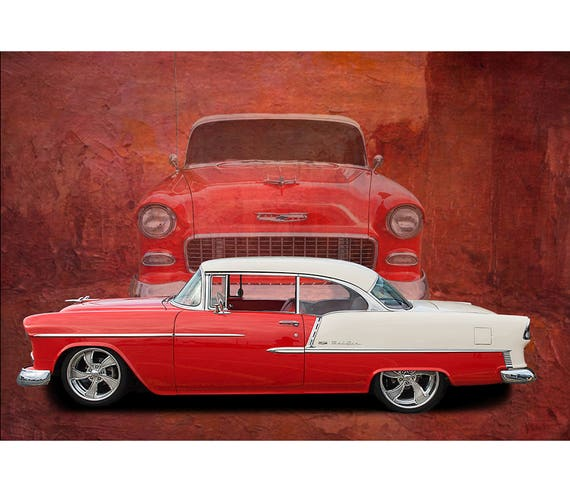 1955 Chevy Bel Air Chevrolet Car Poster Classic Car Photo Etsy