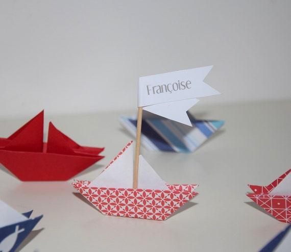 marque place bateau origami bapt me babyshower communion etsy. Black Bedroom Furniture Sets. Home Design Ideas