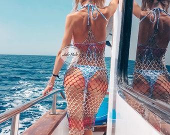 See through ombre dress Sexy sheer dress Crochet beach dress Open back mesh dress Boho mini summer dress Fishnet dress Halter top dress