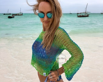 Ombre green blue crop top Fishnet top See through long sleeve net tops Knitted top Beach cover up Boho mesh crop top Sexy sheer bohemian top