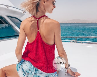 Hand knitted mesh open back top Knit halter neck top Sexy bohemian top women Boho crop top Sheer minimalist top See through top Red net tops