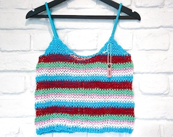 Women's summer crop top Striped tank top  Festival outfit Fishnet top See through women knitted top Sexy sheer knit top Beachwear fashion