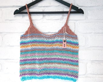 Women's transparent crop top Striped tank top Festival outfit Net top See through women knitted top Sexy sheer knit top Beachwear fashion