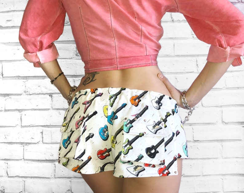 251875b85b Women's cotton party shorts White color printed short   Etsy