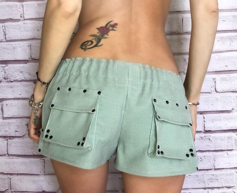 9ecd8dea67 Women's velvet shorts. Mint color short shorts.   Etsy