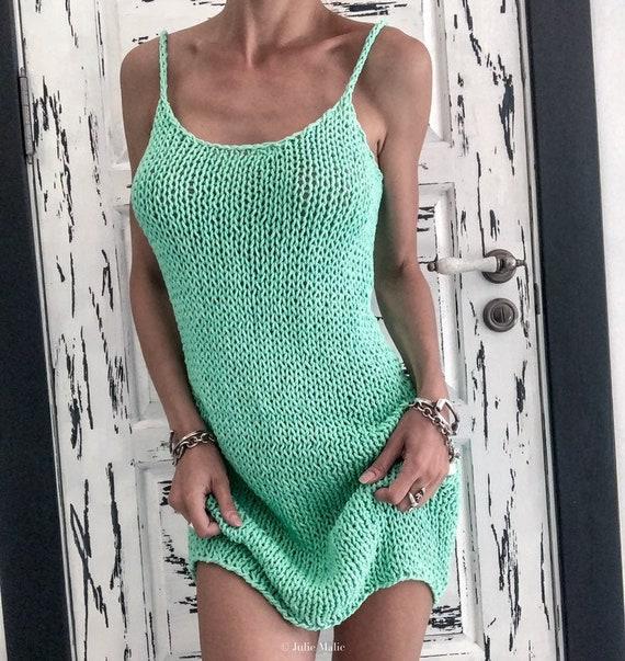 Boho mini dress. Sexy sheer dress. Loose knit dress. Cotton summer dress. Forest green fishnet dress. See through dress. Short summer dress.