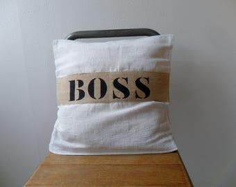 Cushion cover 40 x 40 cm old hemp and Burlap, stenciled BOSS