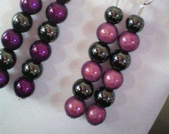 Dangling earrings, Hematite and magic beads - 8 cms h