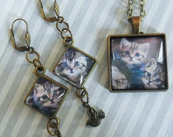 Kittens cats gray Brown Cabochons earrings and pendant set glass 25x25MM - supports metal bronze