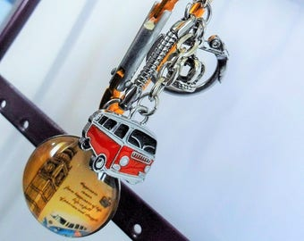 Keychain jewelry bag London Big Ben bus glass Cabochon 25 mm hook