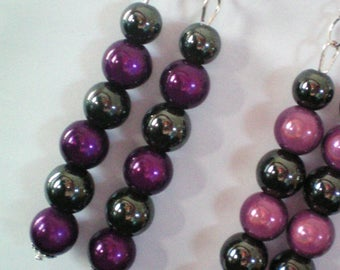 Dangling earrings, Hematite and magic beads - h 8cms - purple