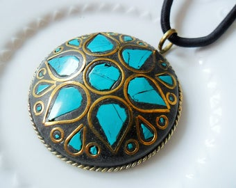 Copper pendant and 925 sterling silver inlaid with turquoise - natural stones - 53mm