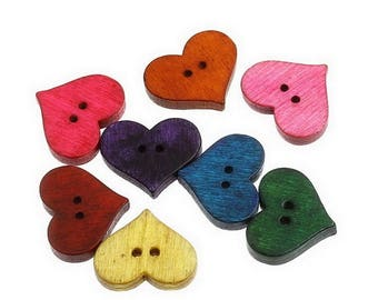 5 buttons - colorful hearts - 2 holes - 20x17mm