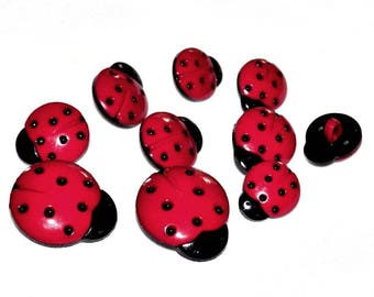 10 Ladybug buttons 15mm red and black acrylic