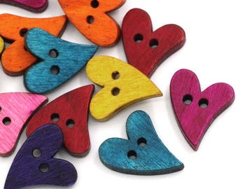 5 buttons - colorful hearts - 2 holes - 21 x 17 mm