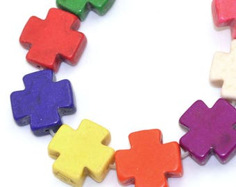 8 square 15x15mm - tinted stone - set 8 color Howlite cross beads
