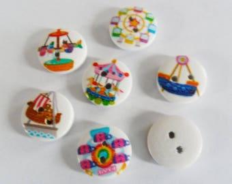 Mixed lot 5 buttons 15 mm - fun fair rides children baby - 2 holes