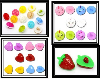 set n 2:40 acrylic buttons - sewing crafting scrapbooking
