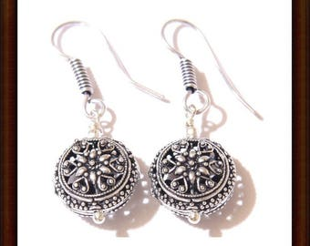 Earrings silver Sterling 925 Silver - partitioned - round shape 40mm