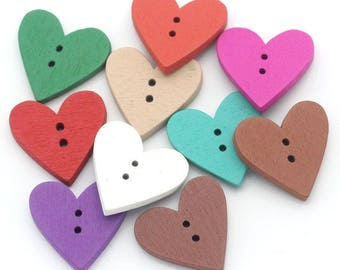 5 large buttons - colorful hearts - 2 holes - 24 x 23 mm