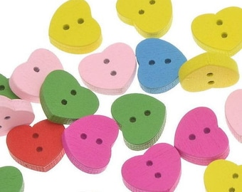 6 wood - colored hearts - 2 holes - 14.7x12.7mm buttons
