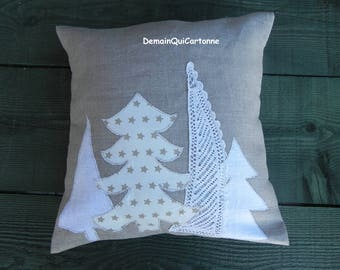 Linen & Christmas trees appliqué pillow cover
