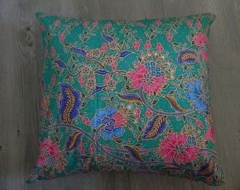 3 green printed cotton cushion covers