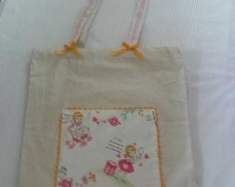 "Tote bag ""girl"" vintage"