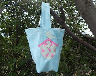 Child's bag in blue ticking birdhouse tone rose and bird
