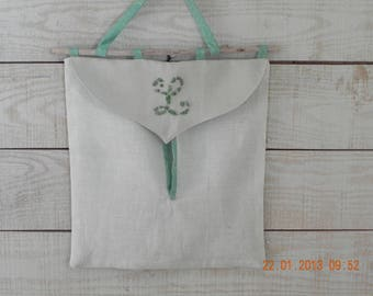 Bag hanging in linen/Driftwood / frosted glass