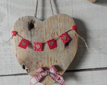 Natural Driftwood hanging heart
