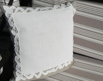 Linen and old linen appliqué pillow cover
