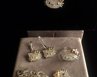 653ccf911 Hello Kitty jewelry set. Necklace , Ring, Bracelet ,Earrings.Free Shipping