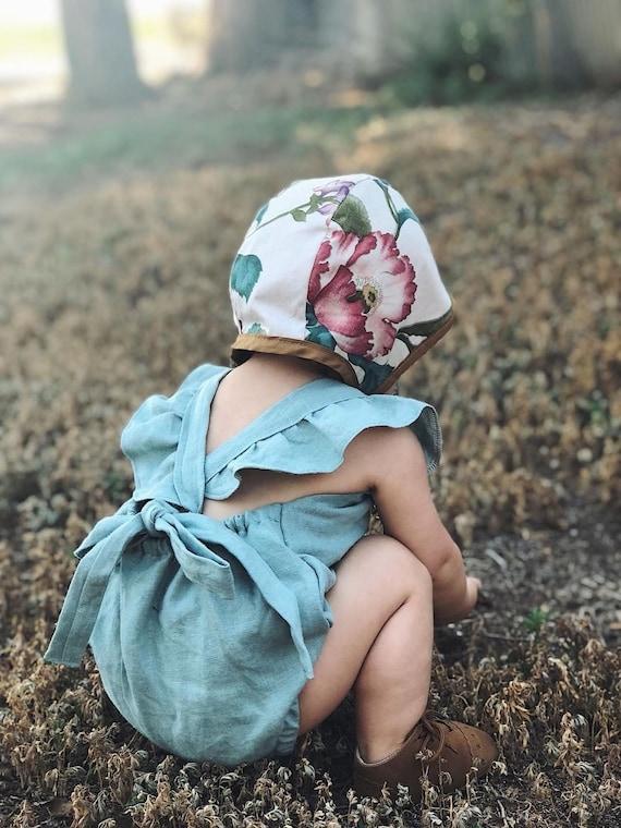 Handmade baby hat Cotton Hat Sun hat Printed poppy bonnet head accessory Vintage bonnet Upcycled bonnet Reversible  Bonnet