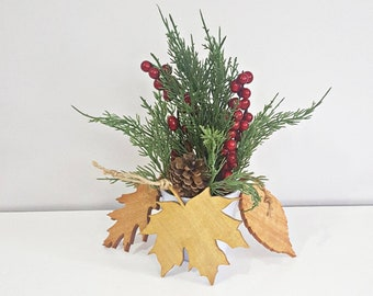 Elm and Oak Leaves Set of 3 Wooden Leaf ornaments includes 1 of each Maple