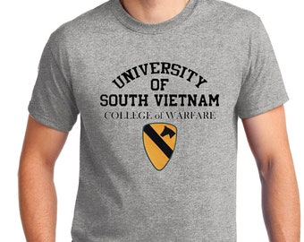 University of South Vietnam, College Of Warfare T-Shirt With 1ST Cavalry Patch Sizes Small to XL