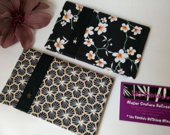 Case vehicle papers, grey card storage, original woman gift, traditional Japanese fabric, black